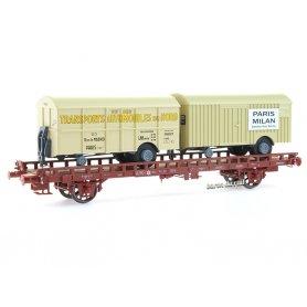 Wagon UFR Biporteur autos du NORD + PARIS-MILAN ép IV - HO 1/87 - REE WB-643