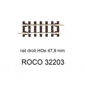 Rail droit 47,9 mm voie étroite HOe - ROCO 32203