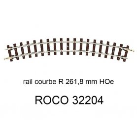 Rail courbe rayon 261,8 voie étroite HOe - ROCO 32204