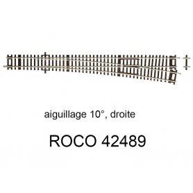 Aiguillage à droite 345mm 10 degrés - ROCO 42489