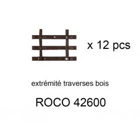 12x extrémités de traverses bois pour rail flexible 42400 - ROCO 42600