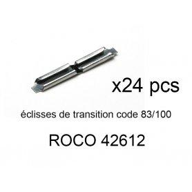 24 éclisses de transition code 83 à code 100 - ROCO 42612