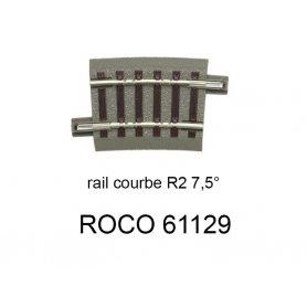 Rail courbe R2 358 mm 7.5 degrés voie Geoline HO - ROCO 61129