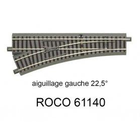 Aiguillage à gauche R 502.7 mm, 200 mm, 22.5 degrés voie Geoline HO - ROCO 61140