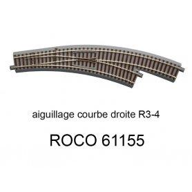 Aiguillage courbe à droite R 434.5mm, 30 degrés voie Geoline HO - ROCO 61155