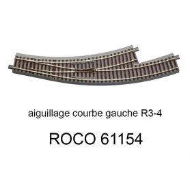 Aiguillage courbe à gauche R 434.5mm, 30 degrés voie Geoline HO - ROCO 61154