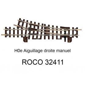 Aiguillage droite 134.3 mm 15 degrés voie étroite HOe - ROCO 32411