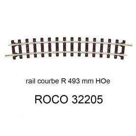 Rail courbe rayon 493mm 13.1 degrés voie étroite HOe - ROCO 32205