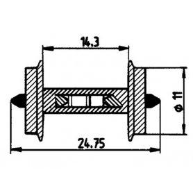 2 essieux normalisés avec résistance intégrée Ø11 - HO - ROCO 40186