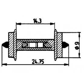 2 essieux normalisés avec résistance intégrée Ø9 - HO - ROCO 40187