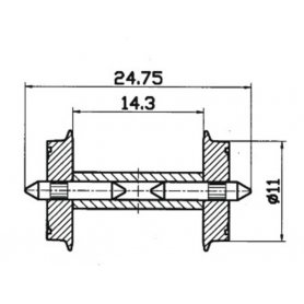 2 essieux normalisés Ø11- HO - ROCO 40192