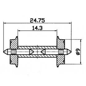 2 essieux normalisés Ø9- HO - ROCO 40191