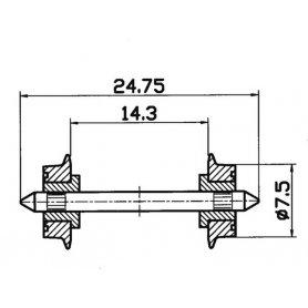 2 essieux normalisés Ø7,5- HO - ROCO 40189