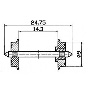 2 essieux normalisés Ø9- HO - ROCO 40194