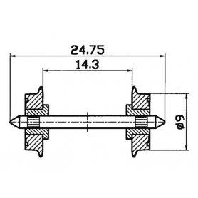 2 essieux normalisés Ø9- HO - ROCO 40197