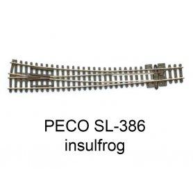 PECO SL-386 - Aiguillage courbe à droite 10° Insulfrog échelle N