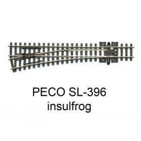 PECO SL-396 - Aiguillage droit à gauche 14° Insulfrog échelle N