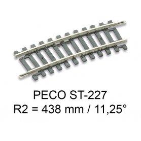 PECO ST-227 - rail courbe rayon R2 438 mm - 11.25° code 100 échelle HO
