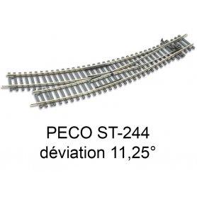 PECO ST-244 - aiguillage courbe à droite 11.25 ° code 100 échelle HO