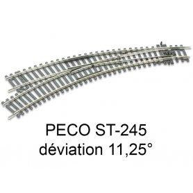 PECO ST-245 - aiguillage courbe à gauche 11.25 ° code 100 échelle HO