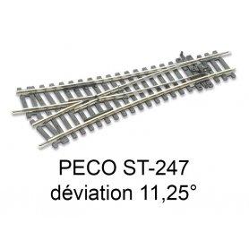 PECO ST-247 - aiguillage symétrique 11.25° code 100 échelle HO