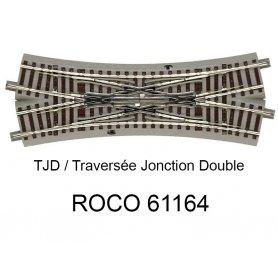 Traversée jonction double 200 mm 22.5 degrés voie Geoline HO - ROCO 61164