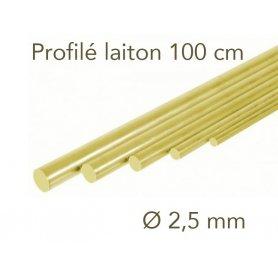 Profilé laiton longueur 1 mètre - Ø 2.5 mm - Albion