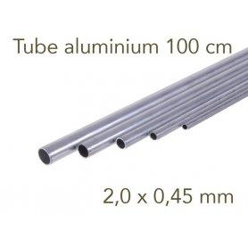 Tube aluminium longueur 1 mètre - 2.0 x 0.45 mm - Albion
