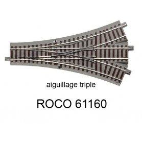 Aiguillage triple 200 mm 22.5 degrés voie Geoline HO - ROCO 61160