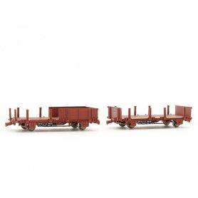 REE WB-492 - 2 Wagonnets de Draisine (Plat à ridelles et ranchers + Plat à ranchers) Ep.IV-V