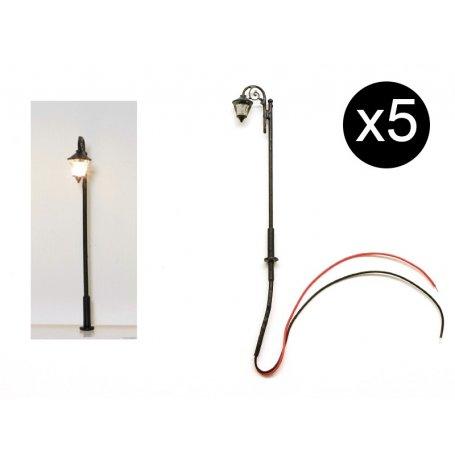 Lampadaire de style ancien HO 7cm à LED - pack de 5