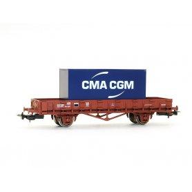 Wagon plat à essieux SNCF époque V HO - PIKO 97082