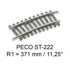 PECO ST-222 - rail courbe rayon R1 371 mm - 11.25° code 100 échelle HO