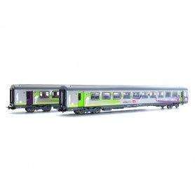 Coffret 2x voitures Corail VTU Intercités SNCF ép VI - HO - PIKO 58651