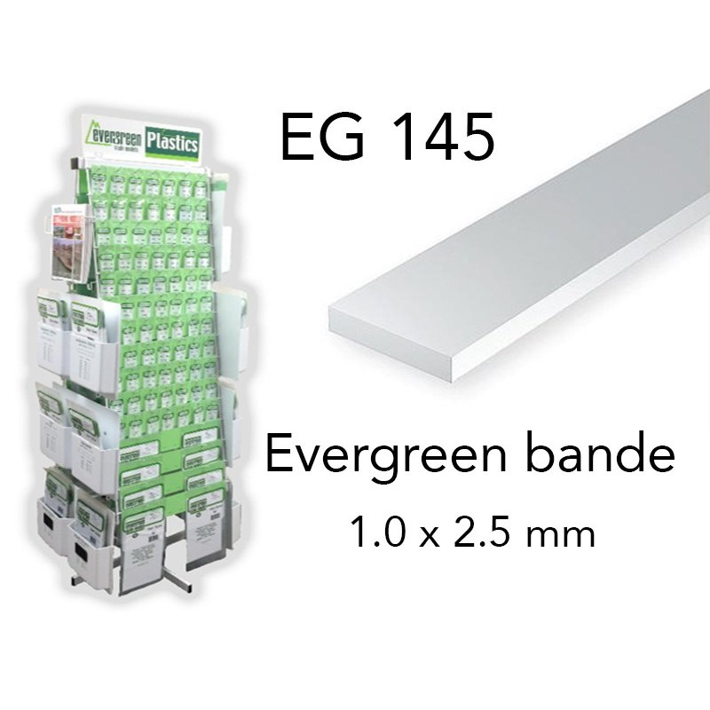 bande styrène 1.0 x 2.5 mm x10 Evergreen EG145