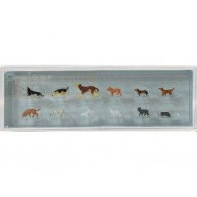 PREISER 14165 - 8 chiens et 4 chats - HO 1/87