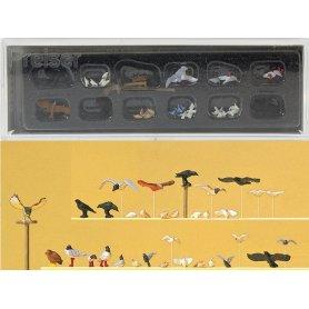 PREISER 10169 - pigeons, mouettes, corneilles et oiseaux de proie - HO 1/87