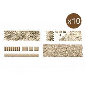 Ensemble de murs, pavements, escaliers en pierre - HO 1/87 - PREISER 18219