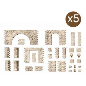 Set de murs en pierre avec portes et arcs - HO 1/87 - PREISER 18217
