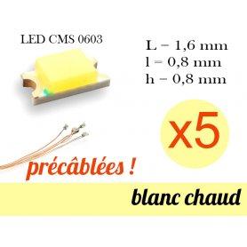 5x LED CMS 0603 précâblées - couleur blanc chaud