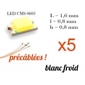 5x LED CMS 0603 précâblées - couleur blanc froid