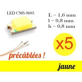 5x LED CMS 0603 précâblées - couleur jaune