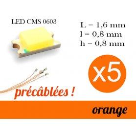 5x LED CMS 0603 précâblées - couleur orange