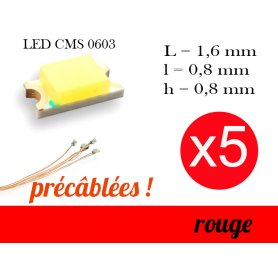 5x LED CMS 0603 précâblées - couleur rouge