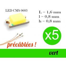 5x LED CMS 0603 précâblées - couleur vert