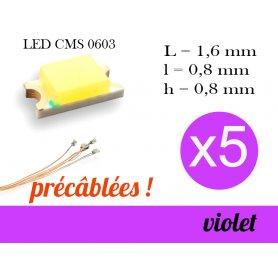 5x LED CMS 0603 précâblées - couleur violet