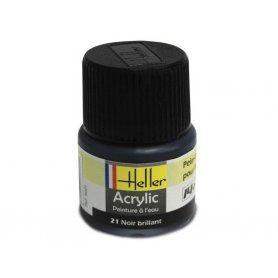Noir brillant Heller 21 acrylique - 12ml - HELLER 9021
