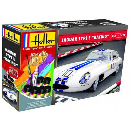 Jaguar Type E Racing Kit complet avec peinture - échelle 1/24 - HELLER 56783
