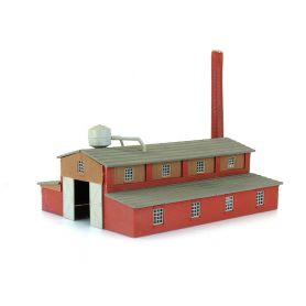 Usine avec cheminée équipée d'un fumigène fonctionnel échelle N