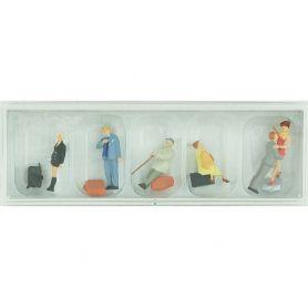 6 voyageurs avec bagages - HO - PREISER 10540